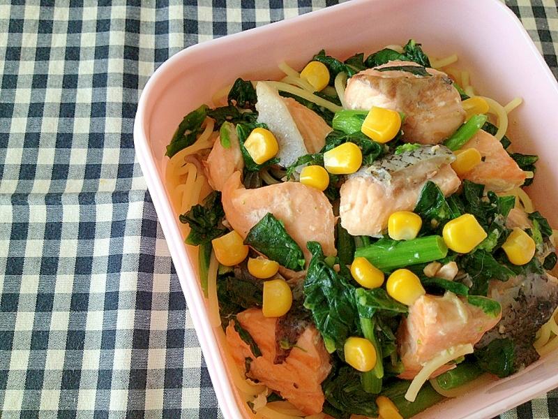 鮭と冬菜の味噌クリームパスタ