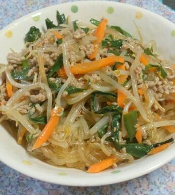 素使用☆野菜たっぷりひき肉チャプチェ