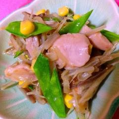 鶏と牛蒡の色々食感、彩りマリネ
