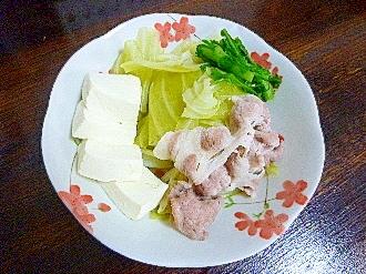 水炊き(豚肩ロース&キャベツ&春菊&豆腐)