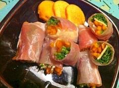 柿と生ハムの彩りピリリ生春巻