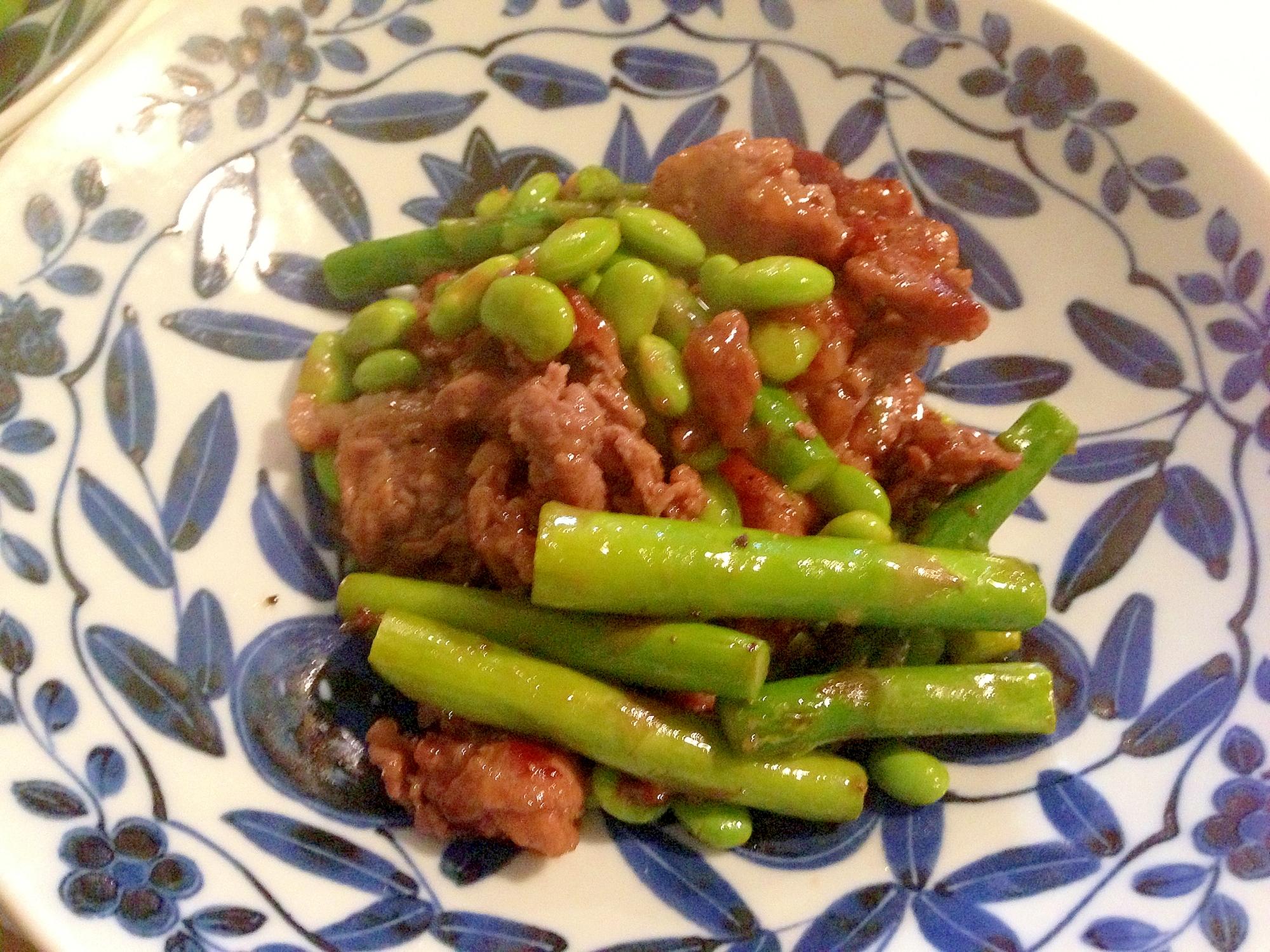 アスパラ・枝豆と牛肉のオイスターソース炒め