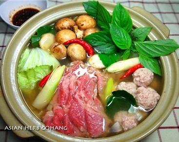 タイ風バジルハーブレモン鍋★海老つみれで