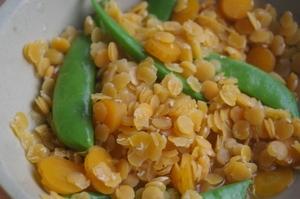 レンズ豆とスナップエンドウの小鉢