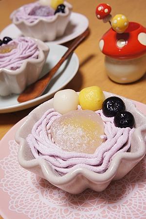 簡単♪白玉だんごの紫いもパフェ♪