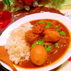 牛すじと白い根菜たちの八丁味噌マサラカレー