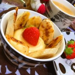 おぼろ豆腐とヨーグルトのキャラメルバナナスィーツ