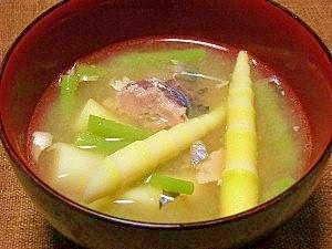 細竹の子とサバ缶de山菜汁
