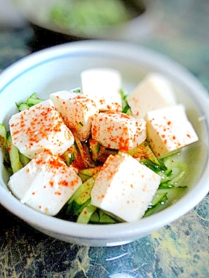 簡単副菜☆豆腐ときゅうりの甘酢サラダ