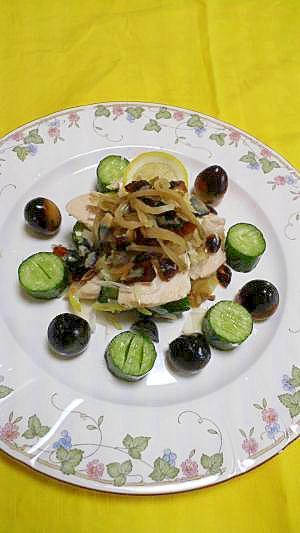 中華の冷製 蒸し鶏、ピータン、ザーサイ盛り合わせ