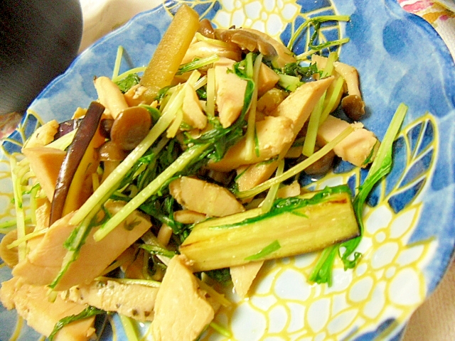 鶏ハムと水菜の野菜炒め
