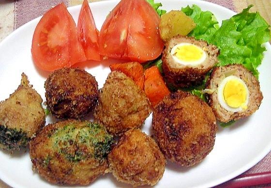 うずら卵と野菜でプチスコッチエッグ