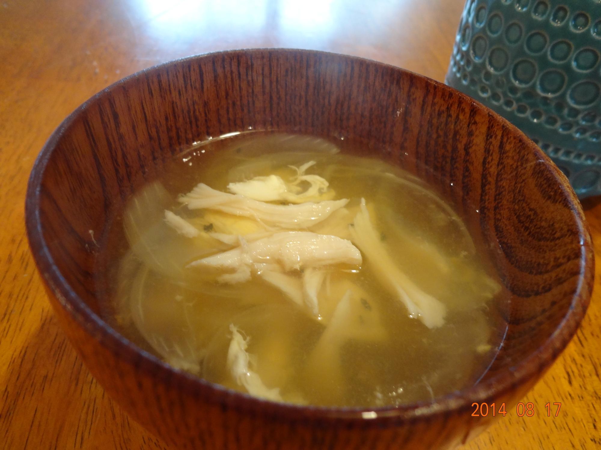 茹でどりの茹で汁deスープ