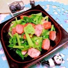 海老ボールと小松菜のマヨ炒め