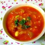 ☆ぷちぷち押し麦入り!豆とトマトのスープ☆