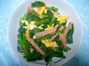スパムで簡単味付け ほうれん草の炒め物