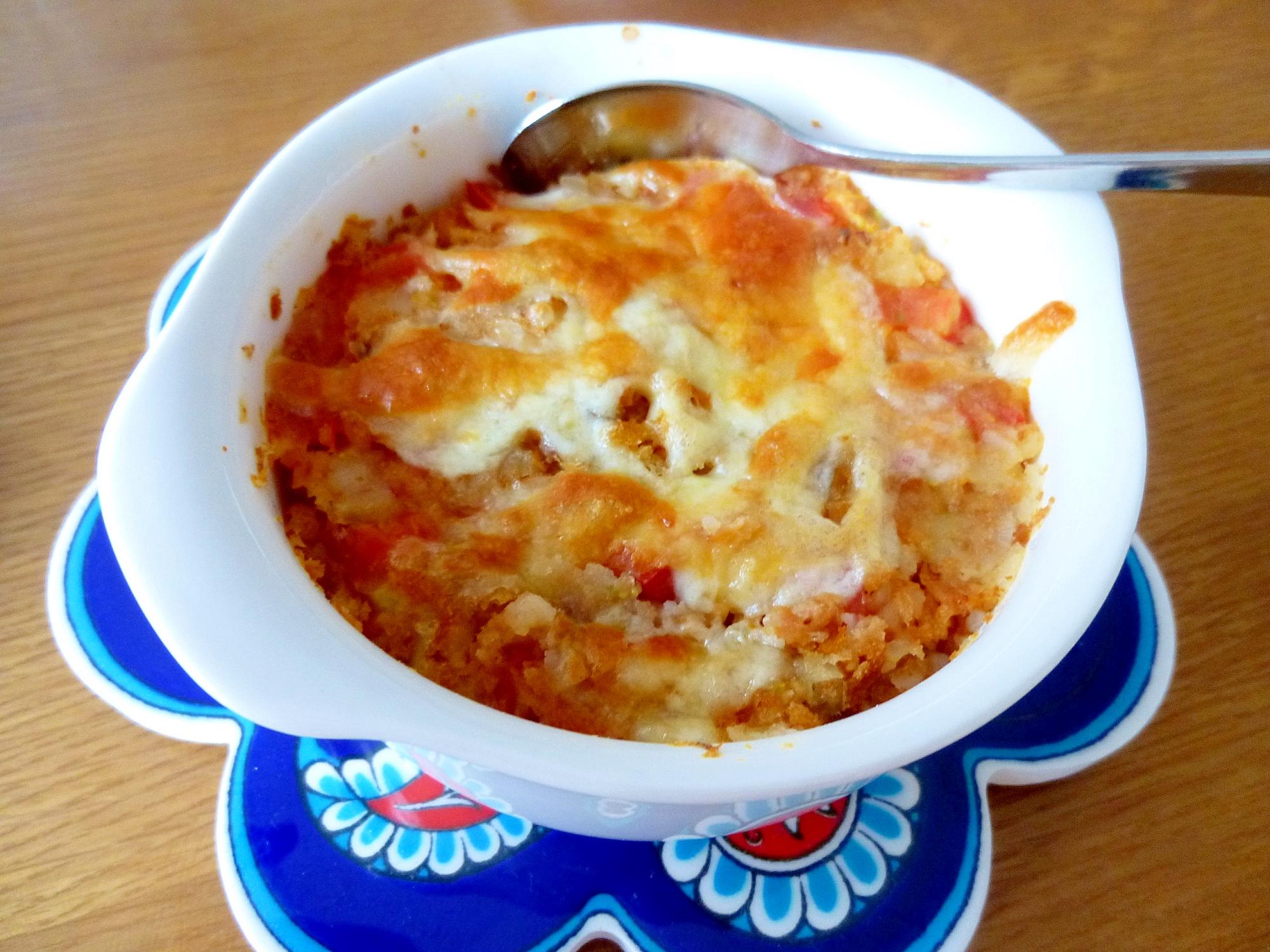 コロッケとトマトのオーブントースター焼き