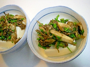 舞茸&小葱&合挽きミンチかけ☆ 温豆腐♪