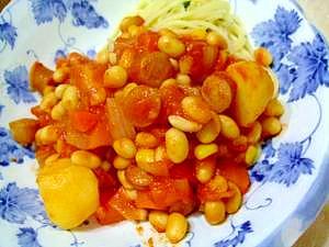無水鍋でё油不使用!大豆とジャガイモのトマト煮込み