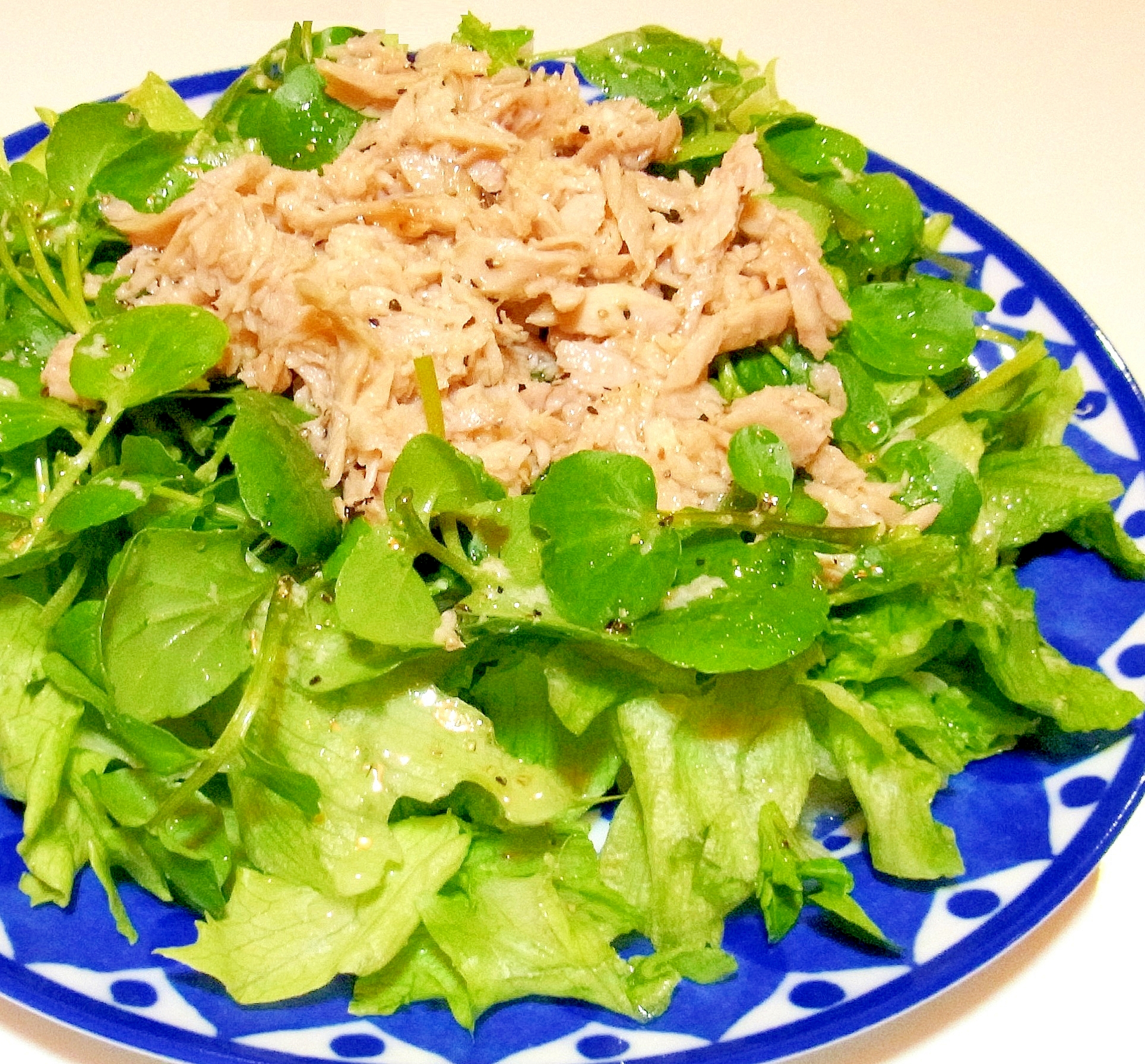 ツナとクレソンのサラダ(レモンオイルドレッシング)