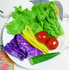 紫キャベツとオクラのサラダ~