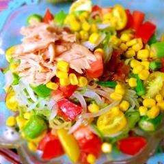 夏野菜のピリ辛サルサ冷やし中華