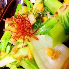 芯ブロッコリーと青梗菜の中華風マヨ炒め