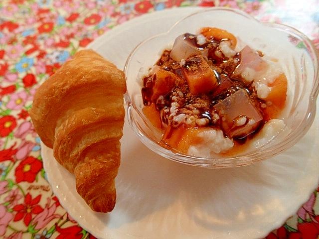 柿・寒天のチョコシナモン甘酒とクロワッサン