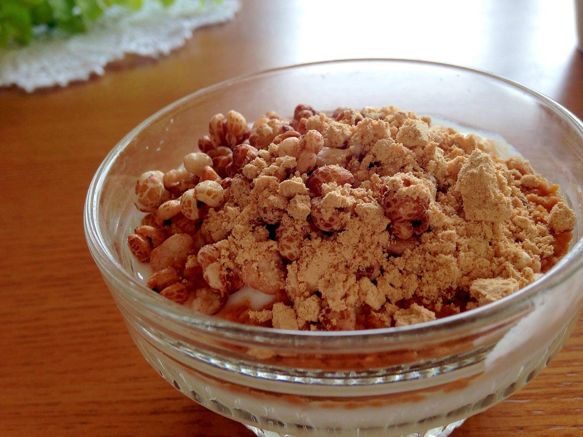 美肌作り♪はと麦ときな粉の美肌ヨーグルト