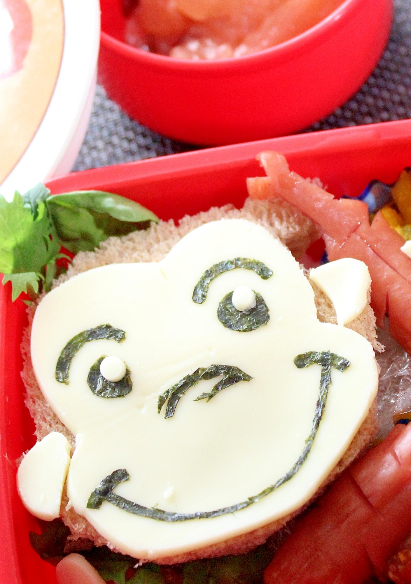 おさるのジョージ☆玄米食パンサンドイッチキャラ弁