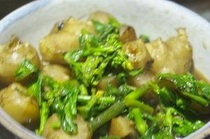 菊芋と菜の花の炒め煮