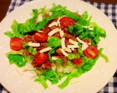 * タコライス風 * ひき肉とレタスのサラダ丼