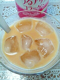 アイス☆美肌なバニラいちごきなこミルク♪