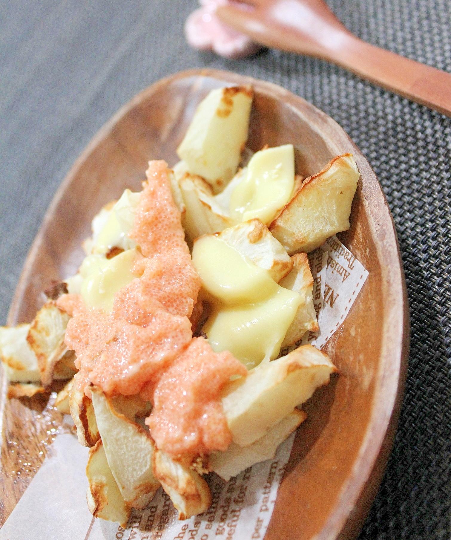 ノンフライヤーで揚げない菊芋ポテト明太マヨチーズ味