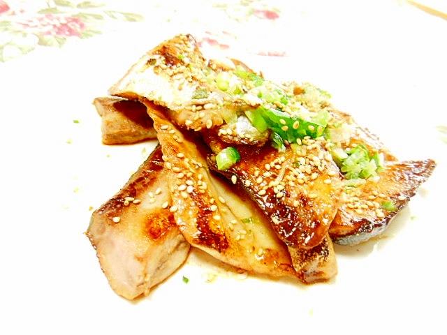 ハマチのアラde甘味噌生姜の味醂漬け焼き