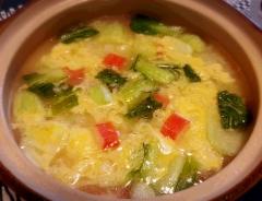 ホッと温まる♪ 青梗菜とカニカマの塩雑炊☆