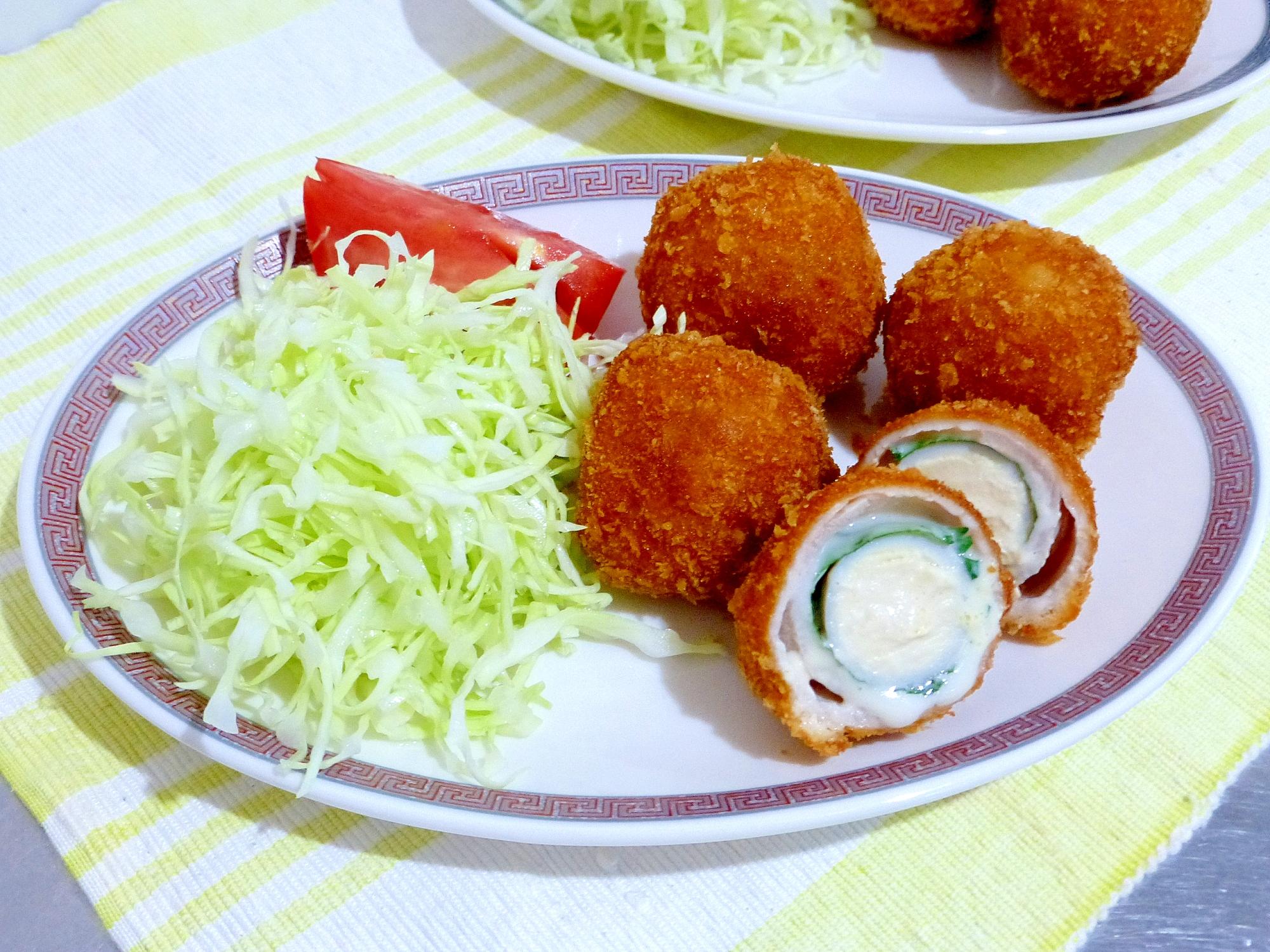 ウズラ卵の豚肉巻きフライ(大葉&チーズ)