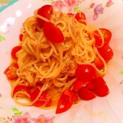 ちりめん山椒とプチトマトの爽やか冷製パスタ