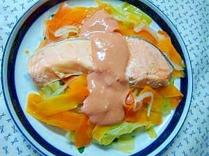 フライパンでヘルシー春野菜鮭蒸し