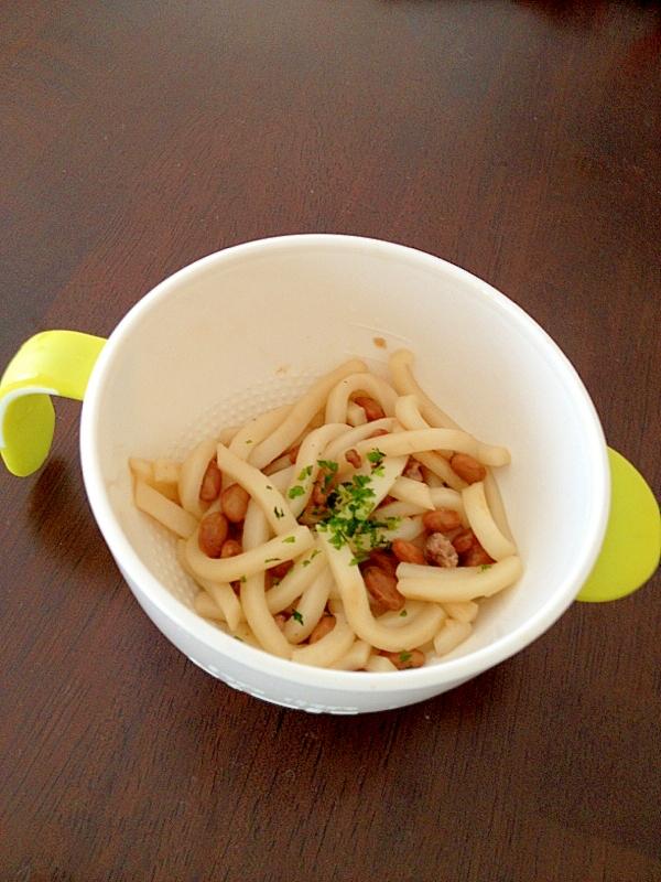 納豆と合挽き肉の焼きうどん