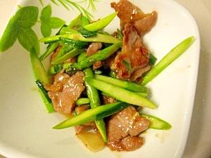豚ヒレ肉とアスパラの塩麹炒め
