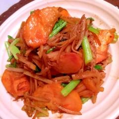 柿と豚肉のオイスター味噌野菜炒め
