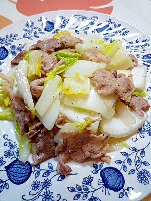 白菜と豚ばら肉の炒めもの♪