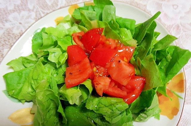 サラダ菜とトマトドレッシングのサラダ