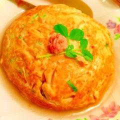 紅ズワイ蟹と長芋のふんわりサクサク天津飯