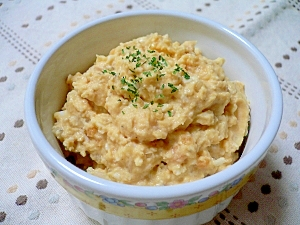 レンズ豆とゆで卵のマッシュ