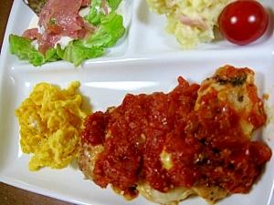 がっつり☆チキンとエッグのトマトソースプレート