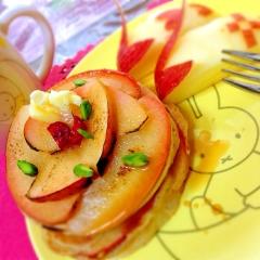 レンチン林檎のきゅん甘ミルクティパンケーキ