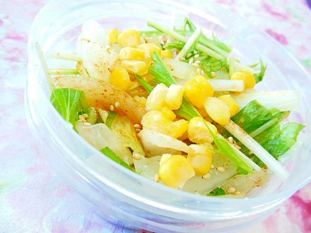 ❤水菜と新玉葱とコーンのBBQシーズニングサラダ❤ レシピ・作り方 by 小太郎1212|楽天レシピ