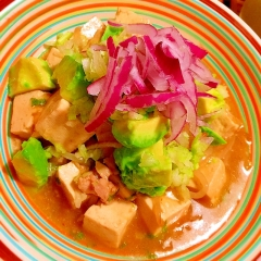 夏仕様のアボカドもやし鶏麻婆豆腐
